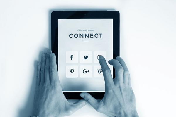 Tablet with social media icons