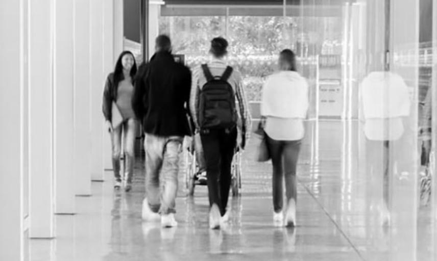 students in a corridor