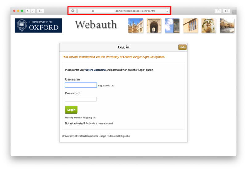 WebAuth spoofed page