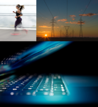 laptop, woman running and tracking, electricity station